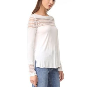 Free People Roxie Ivory White Mesh Top